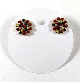 Boucles d'oreille Spounik: Ronde, or, micro-bille multicolore