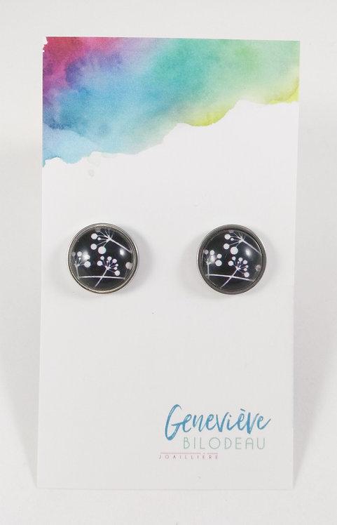 Boucles d'oreille GB Joaillière, 12mm, Noir avec fleur blanche, Acier ino