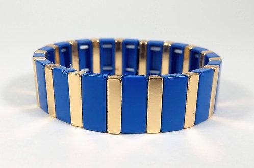 Bracelet élastique Spoutnik, Rectangle bleu royale et or