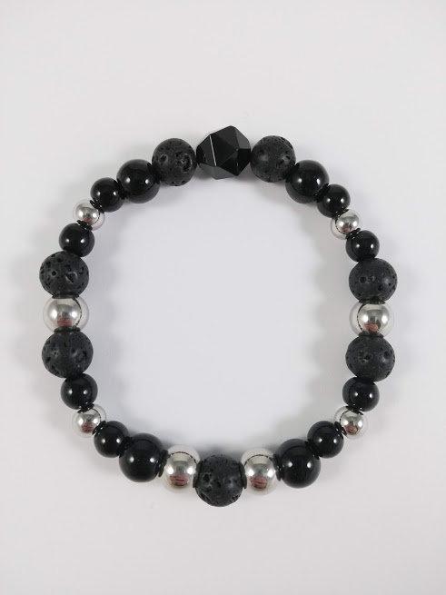 Bracelet #1 Onyx noir et pierre volcanique