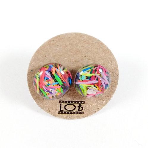 Boucles d'oreille LOB-crayons recyclés (Multicolore #5)