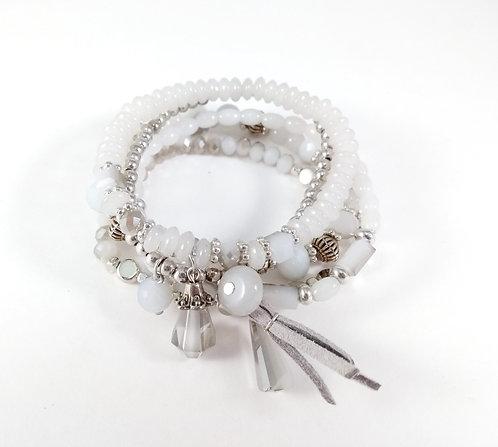 Ensemble de 5 bracelets élastiques Caracol, billes, breloques, gris pâle