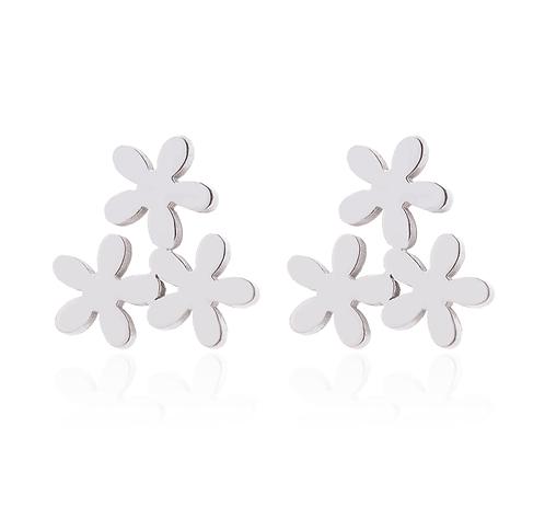 Boucles d'oreille acier inoxydable ''Trio de fleur, argent''