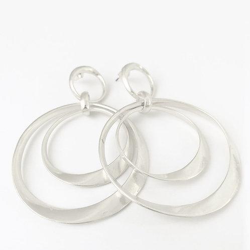 Boucles d'oreille Caracol, Gros anneaux de métal, Argent usé, 2445-SLV