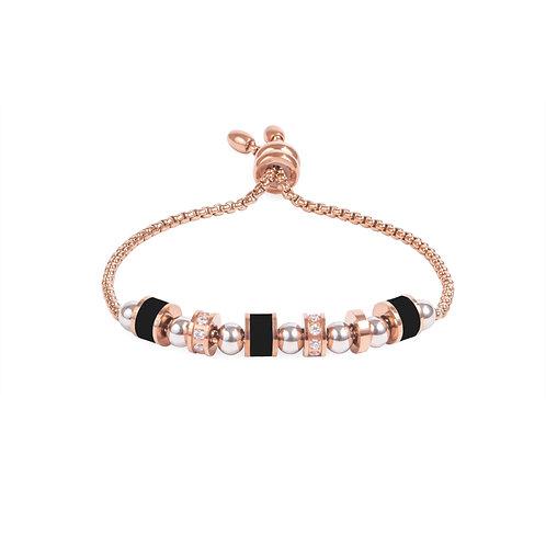 Bracelet Mia, multi billes, Acier inoxydable, Or rose