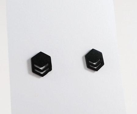 Boucles d'oreille acier inoxydable ''Hexagonale noir''