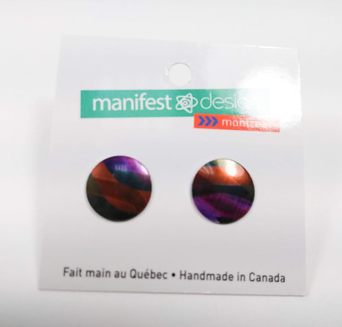 Boucles d'oreille Manifest Design: Fixe ronde, rouge, mauve et noir