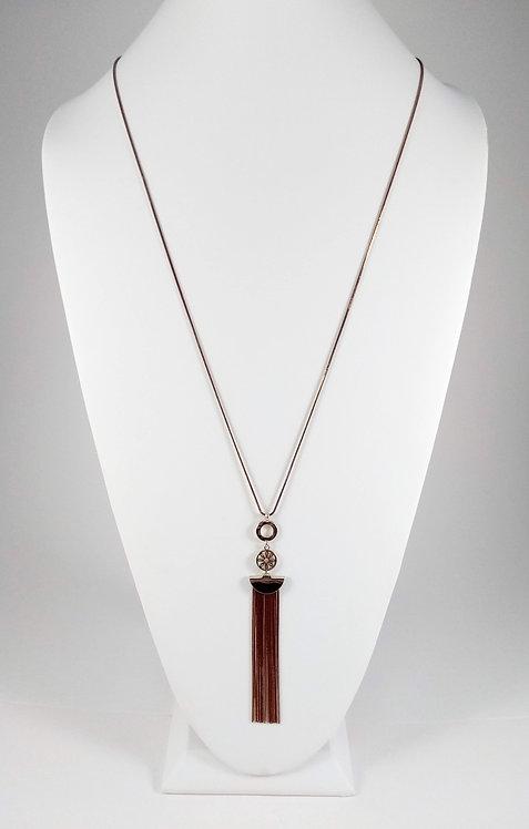 Collier long Spoutnik, Chaîne vieux rose et or