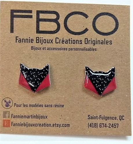 Boucles d'oreille FBCO ''Renard'' Rouge et noir