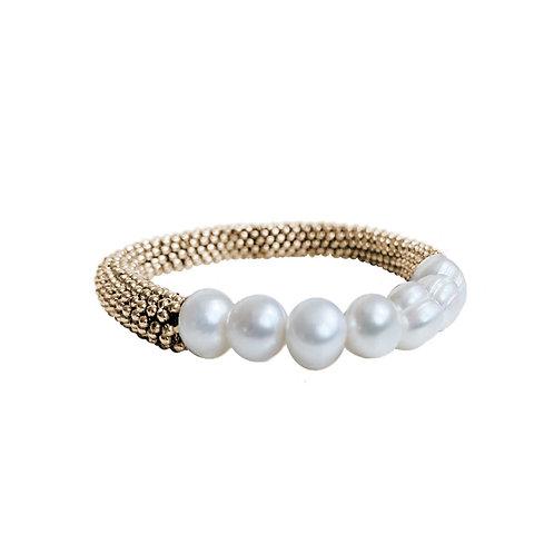 Bracelet élastique Caracol, Or, Perles, 3176-GLD
