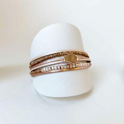 Bracelet Caracol, Cuir véritable, Or rose, 3177-NUD