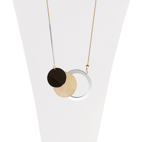 Collier long Caracol, Pastilles métalliques, Mix-Or, 1399-MXG