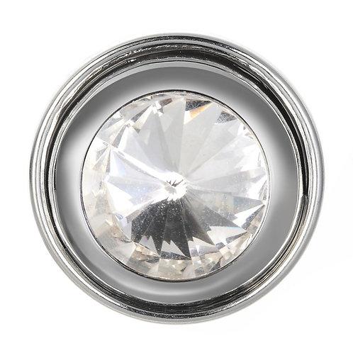 Bouton pression (snap) Nomaad Interchangeable, Cristal argent contour argent