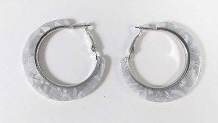 Boucles d'oreille anneau Spoutnik, blanc et argent