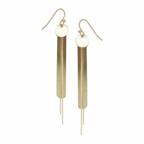 Boucles d'oreille Caracol, Longue, Plaque et chaînes, Or, 2413-GLD
