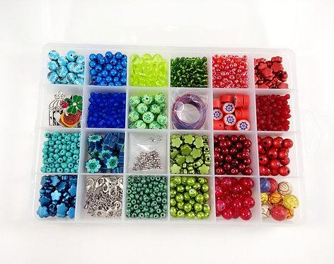 Coffret de fabrication de bijoux: Bleu, vert et rouge