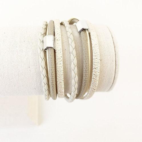 Bracelet Caracol, Cuir avec bille métal, Beige, 3108-BGE