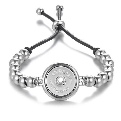 Bracelet bille argent et cuir noir, Nomaad Interchangeable, ajustable