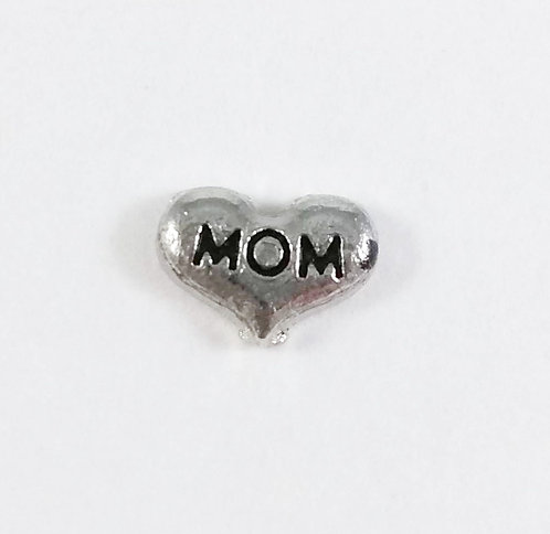 Figurine pour collier famille: Coeur ''Mom'' (maman)