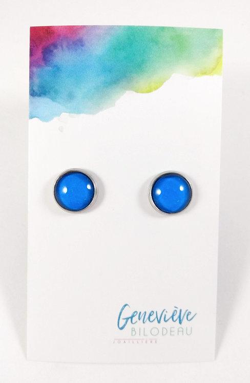 Boucles d'oreille GB Joaillière, 10mm, Bleu uni, Acier inoxydable