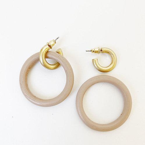 Boucles d'oreille Caracol, Anneaux bois et métal, Rose et or, 2416-PNK