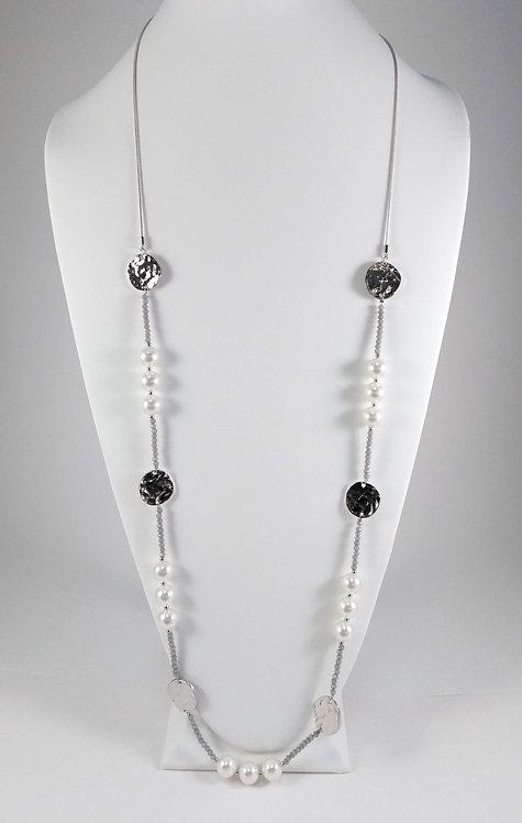 Collier long Spoutnik, Rempli de billes, perles et pastille métallique argent