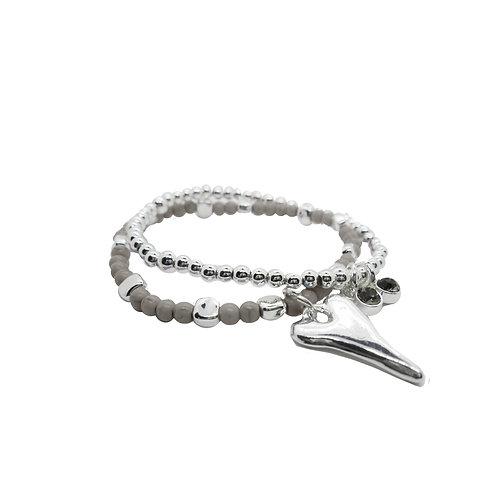 Bracelet Caracol, Gris, coeur argent #3167-GRY