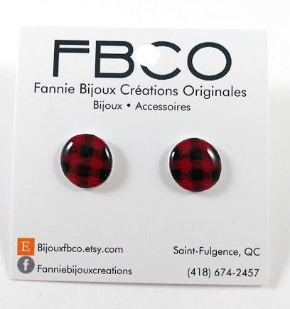 Boucles d'oreille FBCO Carreauté rouge et noir