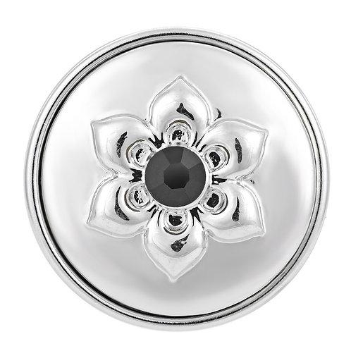 Bouton pression (snap) Nomaad Interchangeable, Fleur embossé argent,cristal noir