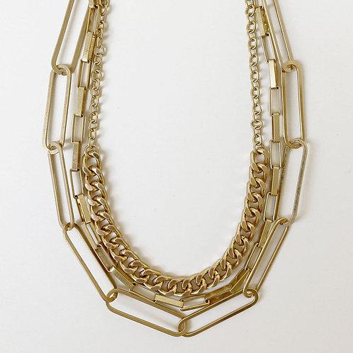 Collier court Caracol, Mélange de chaînes à maillons, Or, 1448-GLD