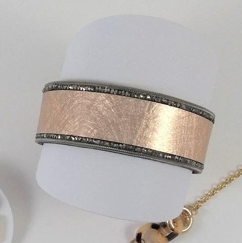 Bracelet Spoutnik cuir argenté/rosé et cristaux