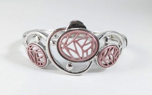 Bracelet Spoutnik élastique, Ovales ajourés, rose mat, argent