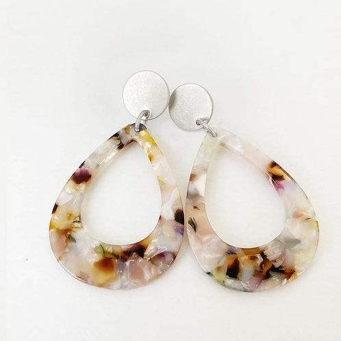 Boucles d'oreille Caracol, Goutte résine coloré, Argent, 2435-SLV-W