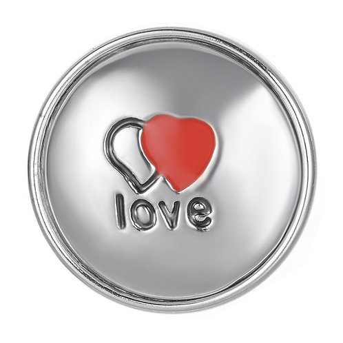 Bouton pression (snap) Nomaad Interchangeable, Coeur Argent ''Love''