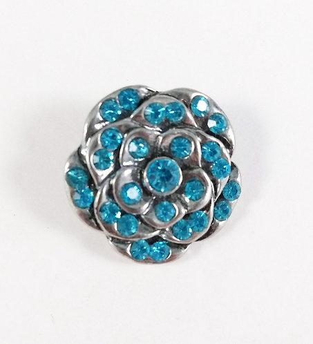 Bouton pression (snap) Nomaad Interchangeable, Fleur avec cristaux bleu ciel