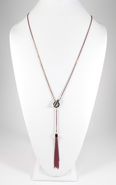 Collier long Caracol, Chaîne vieux rose et or, pompon de chaîne