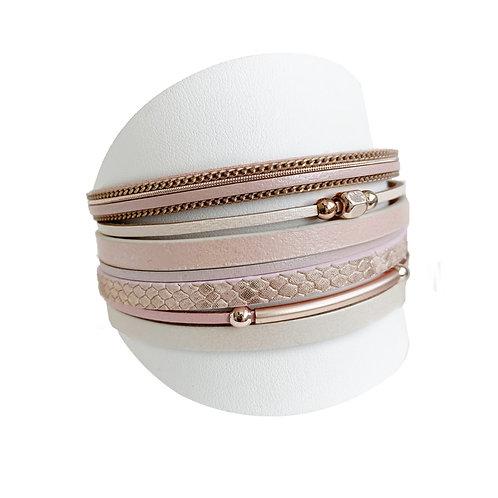 Bracelet Caracol, Cuir, Nude et or rose, 3149-NUD
