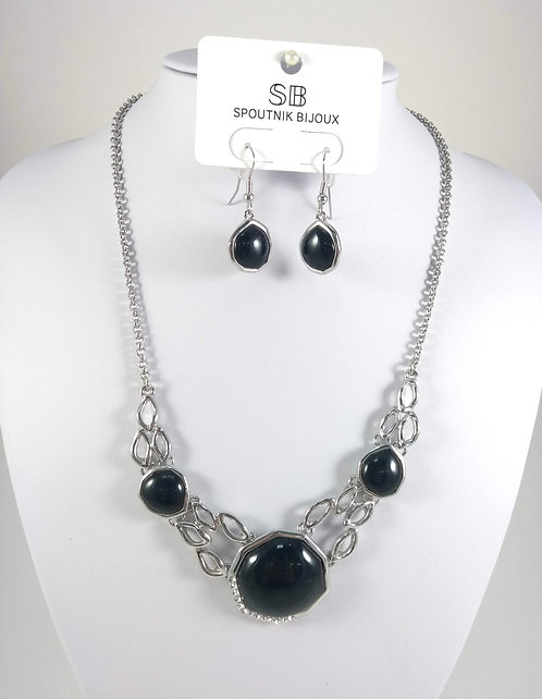 Ensemble collier et boucles d'oreille Spoutnik, 3 pièces noires, argent