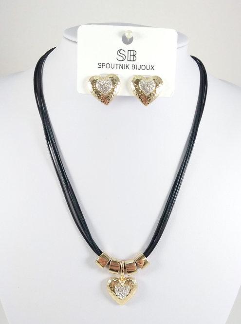 Ensemble collier et boucles d'oreille Spoutnik, Coeur cristaux, Or