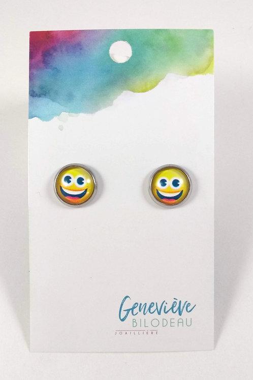 Boucles d'oreille GB Joaillière, 10mm, Émoticône ''Smile'', Acier inoxydable