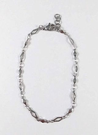Bracelet de cheville, acier inoxydable, Losange, argent