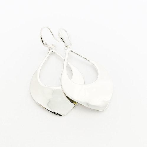 Boucles d'oreille Caracol, Goutte martelé, Argent lustré, 2397-SLV
