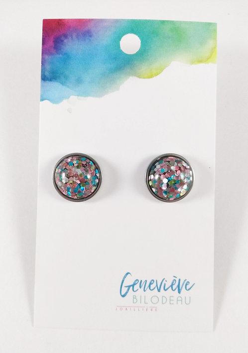 Boucles d'oreille GB Joaillière, 12mm, Paillette multicolore