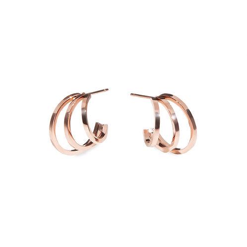 Boucles d'oreilles Mia, Anneaux 3 rangées, Acier inoxydable, Or rose