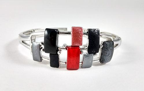 Bracelet Spoutnik élastique, Rectangle rouge, noir et gris, argent