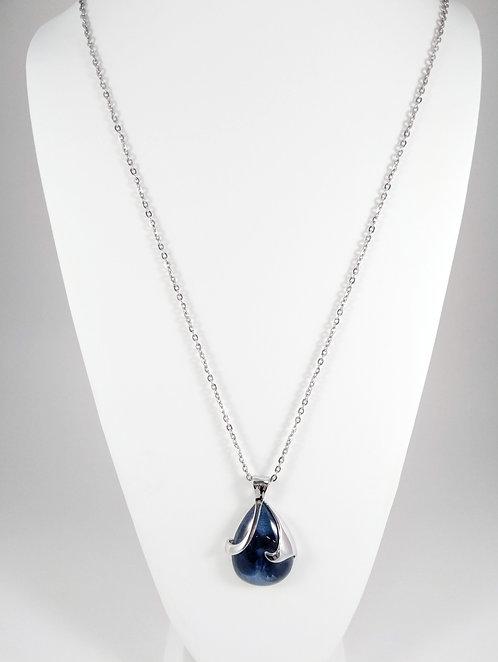 Collier long Spoutnik, Goutte pétale de fleur, bleu marin