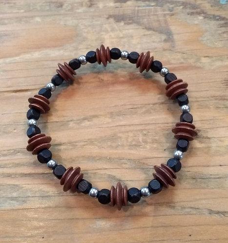 Bracelet pour garçon: Brun, noir et acier