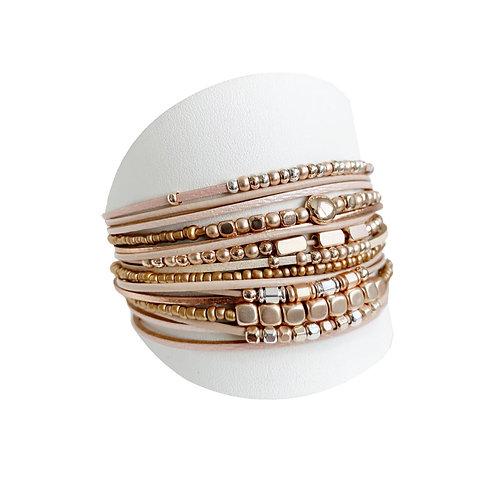 Bracelet Caracol, Cuir, Nude et or rose, 3161-NUD