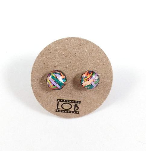 Boucles d'oreille LOB-crayons recyclés (Multicolore #8)