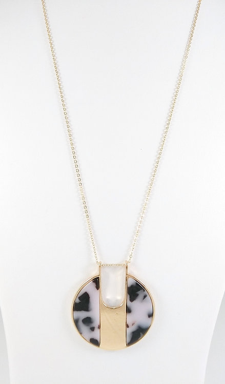 Collier long Spoutnik, Cercle résine blanc, gris, noir et or